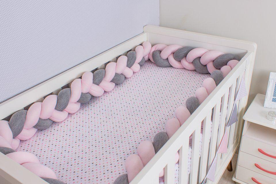 Protetor de Berço em Trança Rosa Bebê e Cinza Mescla 4m  - Toca do Bebê