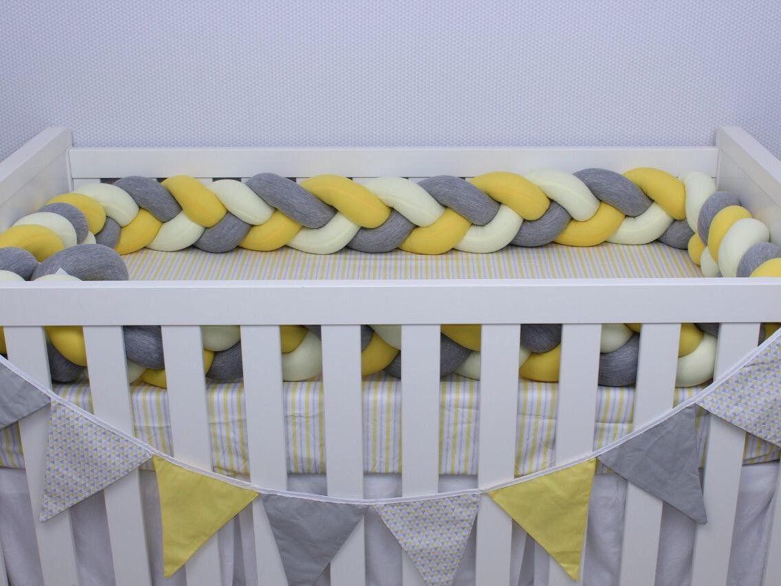 Protetor de Berço em Trança Amarelo Ouro,Amarelo Bebê e Cinza Mescla 4m