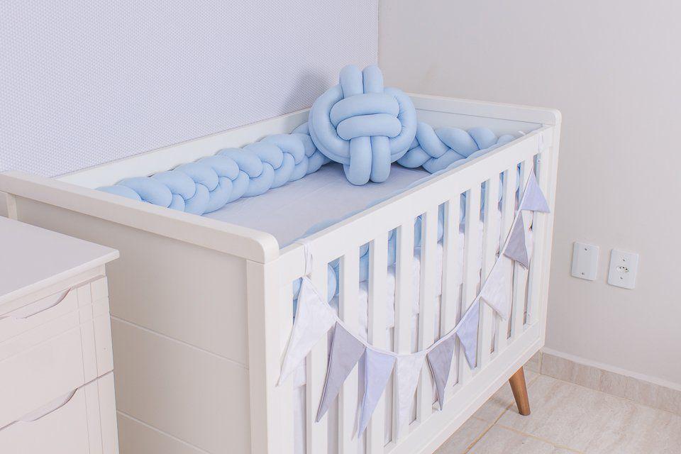 Protetor de Berço em Trança Azul Bebê 4m