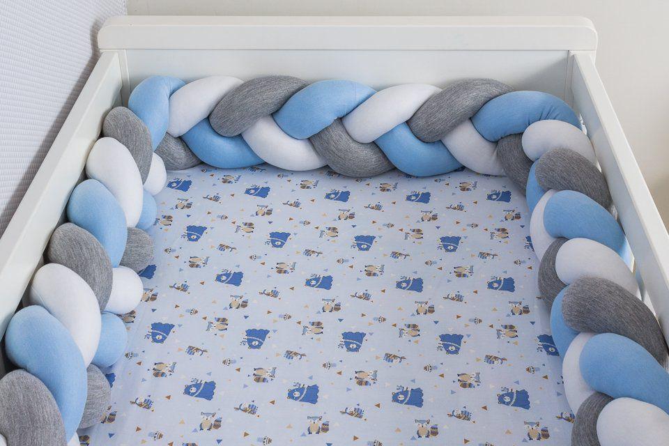 Protetor de Berço em Trança Azul Bebê,Cinza Mescla e Branco 4m  - Toca do Bebê