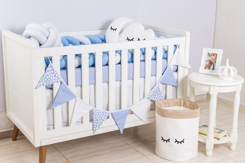 Protetor de Berço em Trança Azul Bebê e Branco 4m  - Toca do Bebê