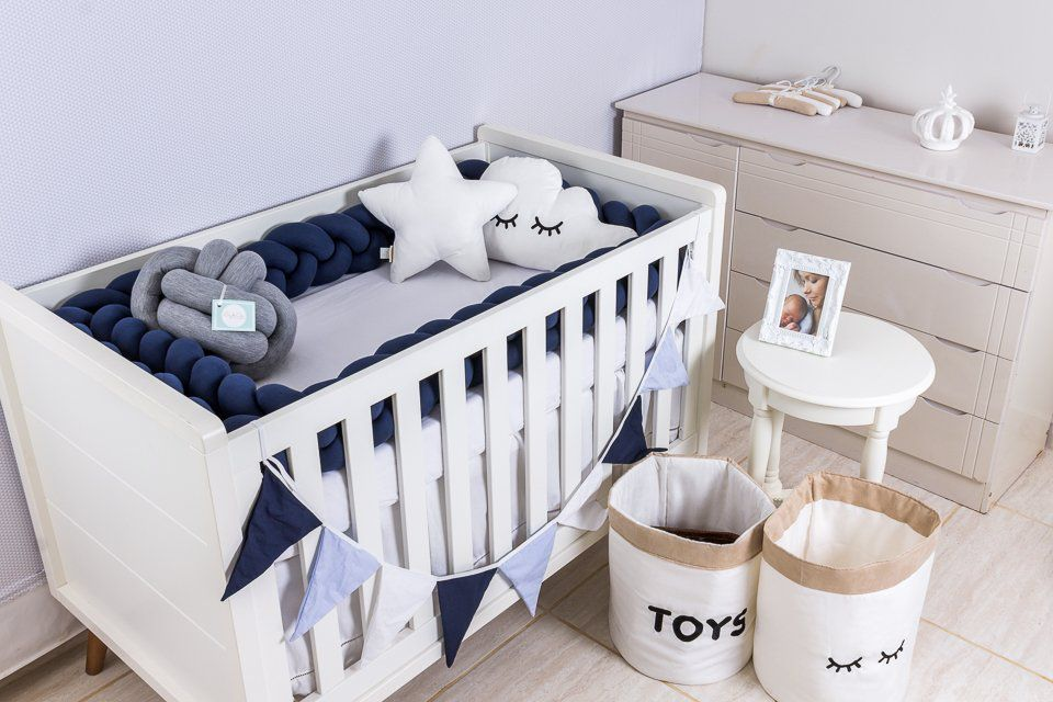 Protetor de Berço  em Trança Azul Marinho 4m   - Toca do Bebê