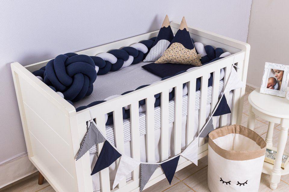 Protetor de Berço em Trança Azul Marinho e Branco 4m  - Toca do Bebê