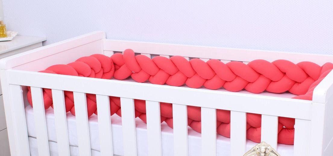 Protetor de Berço  em Trança Living Coral 4m  - Toca do Bebê