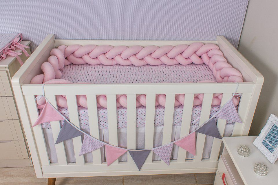 Protetor de Berço em Trança Rosa Bebê 4m