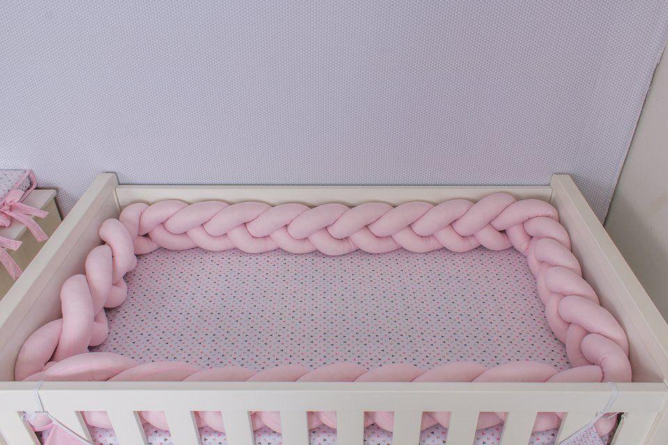 Protetor de Berço em Trança Rosa Bebê 4m  - Toca do Bebê