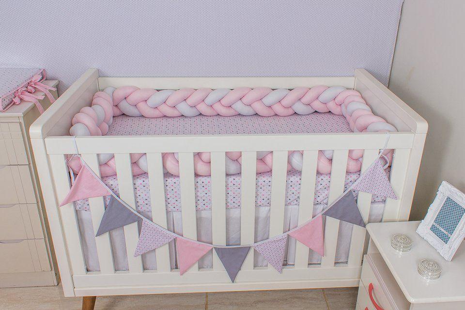 Protetor de Berço  em Trança Rosa Bebê e Branco 4m  - Toca do Bebê