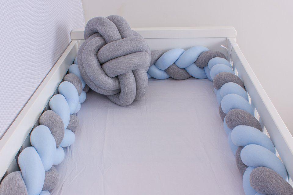 Protetor de Berço em Trança Azul Bebê e Cinza Mescla 4m  - Toca do Bebê