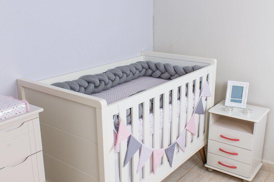 Protetor de Berço  em Trança Cinza Mescla 4m  - Toca do Bebê