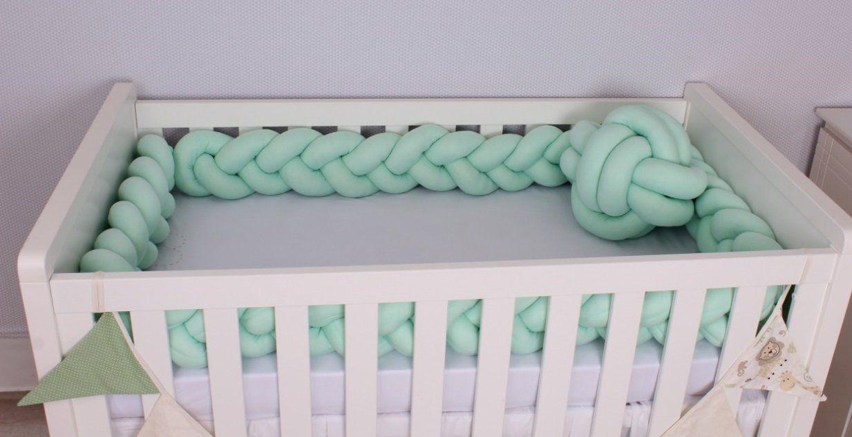 Protetor de Berço  em Trança Verde Bebê 4m  - Toca do Bebê