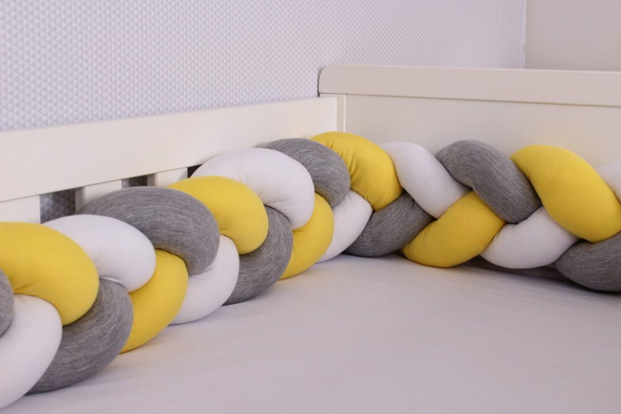 Protetor de Berço em Trança Amarelo Ouro,Cinza Mescla e Branco 4m  - Toca do Bebê