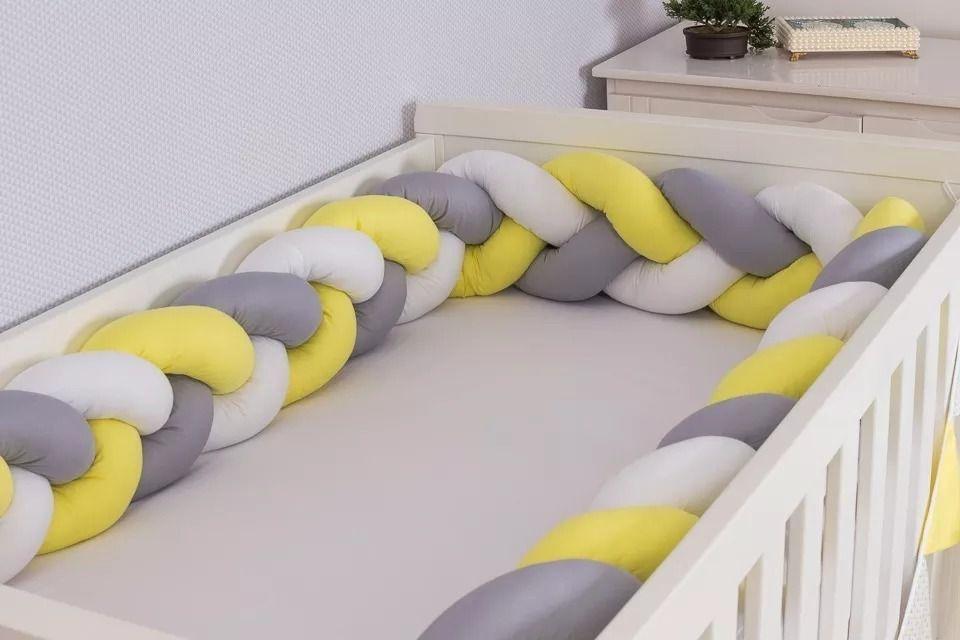 Protetor de Berço em Trança Amarelo Ouro,Cinza Prata e Branco 4m