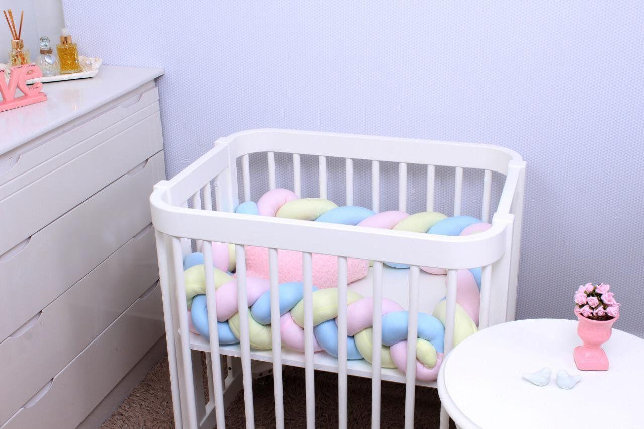 Protetor de Trança Mini Berço Rosa,Amarelo e Azul  - Toca do Bebê