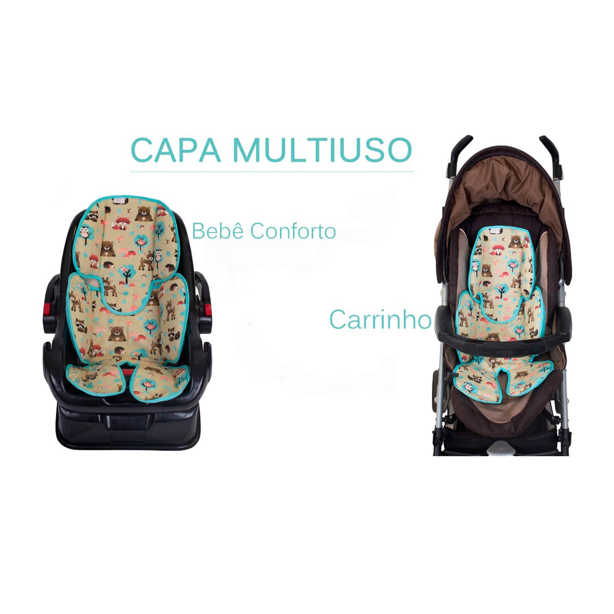 Redutor de Bebê Conforto e Carrinho Arabesco Marinho  - Toca do Bebê