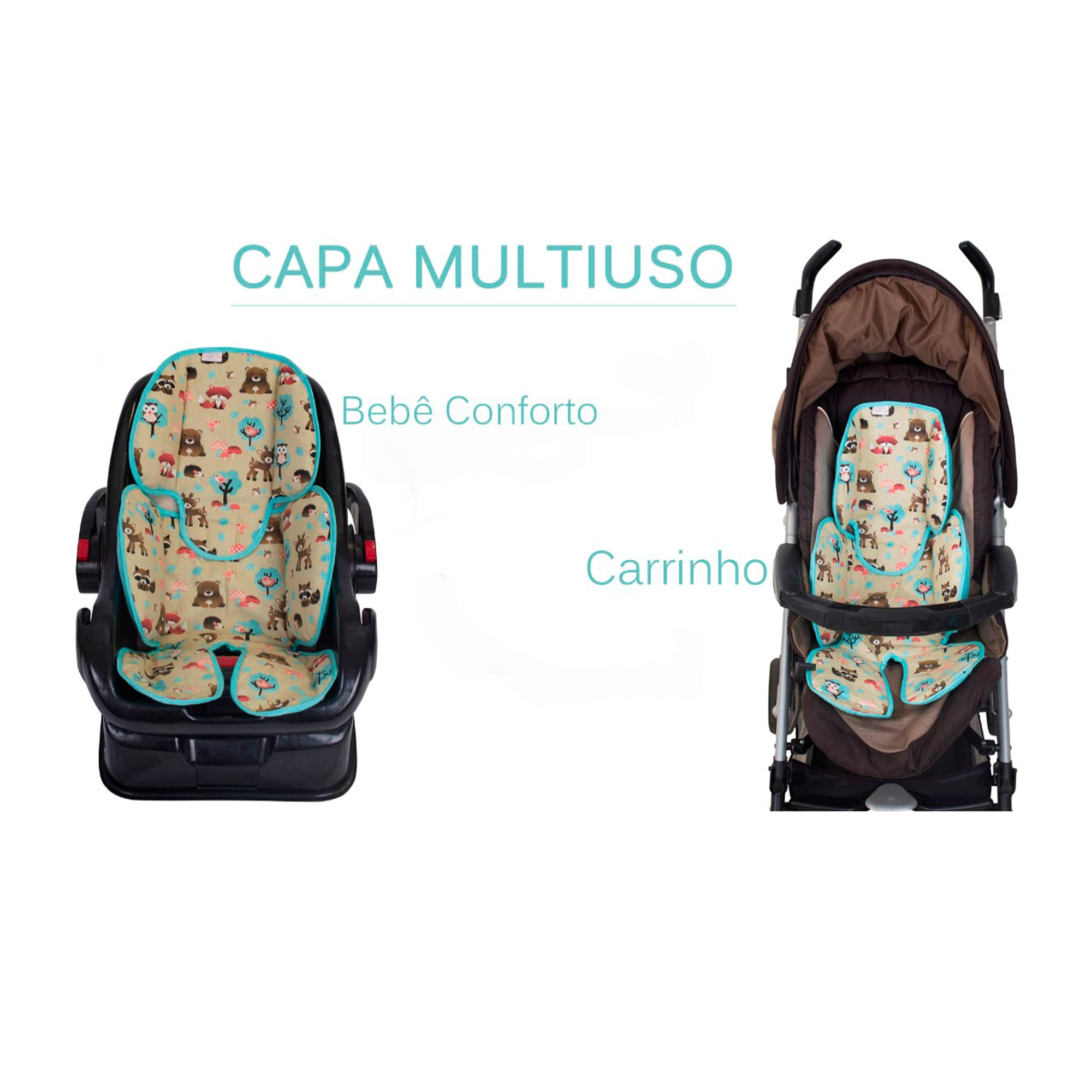 Redutor de Bebê Conforto e Carrinho Dino Verde  - Toca do Bebê
