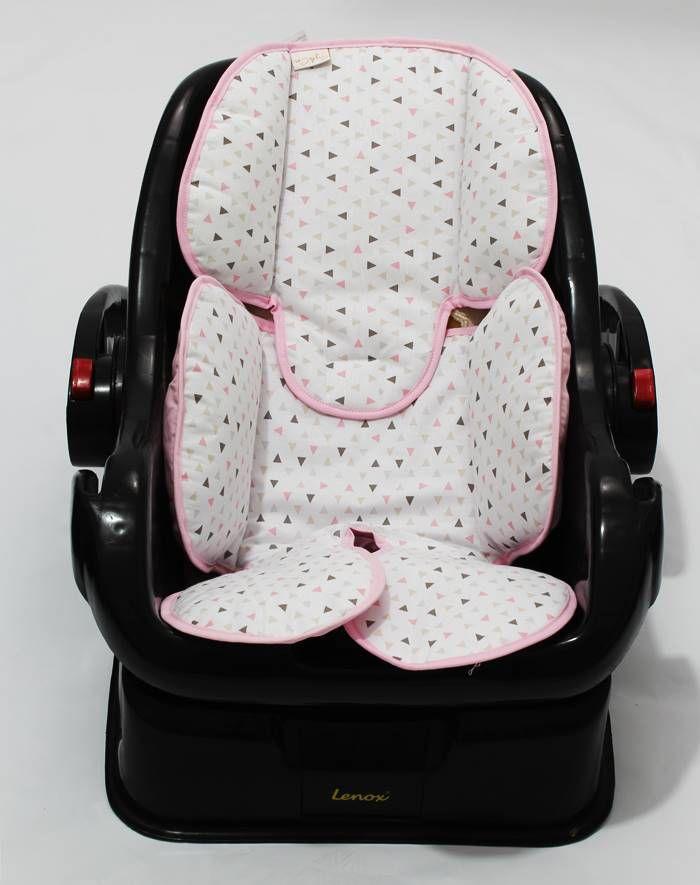 Redutor de Bebê Conforto e Carrinho Triângulo Branco com Rosa
