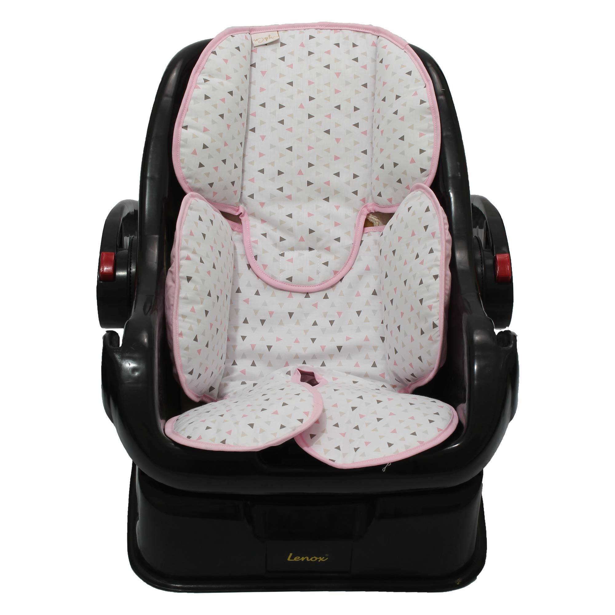 Redutor de Bebê Conforto e Carrinho Triângulo Branco com Rosa  - Toca do Bebê