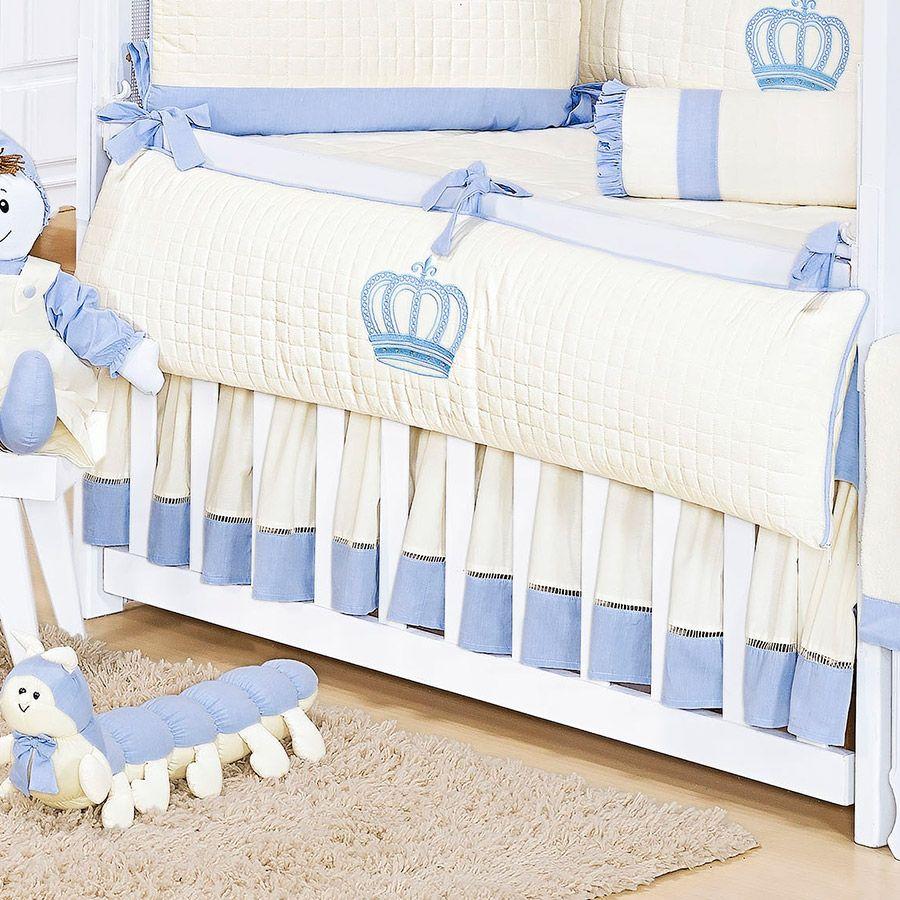 Saia de Berço 2 Lados Kit Realeza Azul  - Toca do Bebê