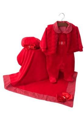 Saída Maternidade Elegance Vermelho Plush 04 Peças