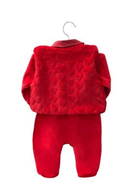 Saída Maternidade Elegance Vermelho Plush 04 Peças  - Toca do Bebê