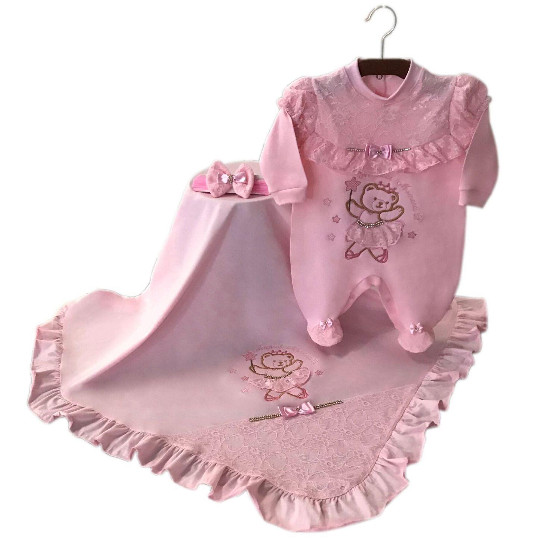 Saída de Maternidade Ursa Bailarina Rosa 03 Peças