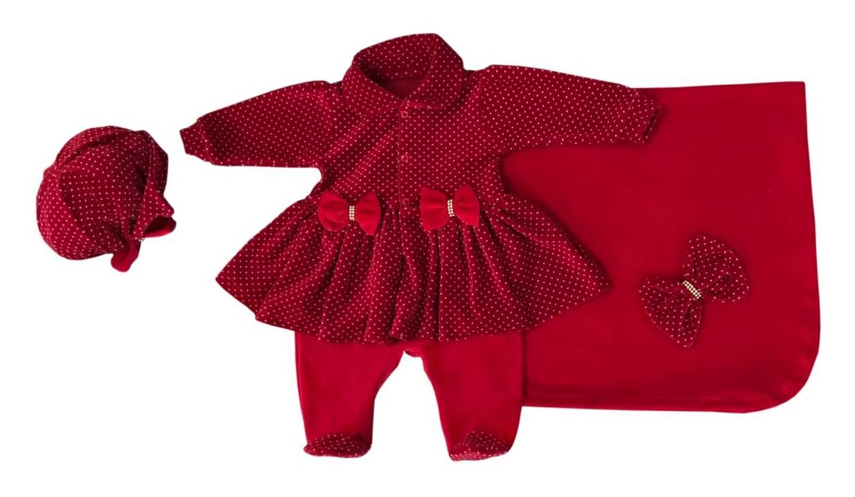 Saída Maternidade Vermelho Poá 03 Peças