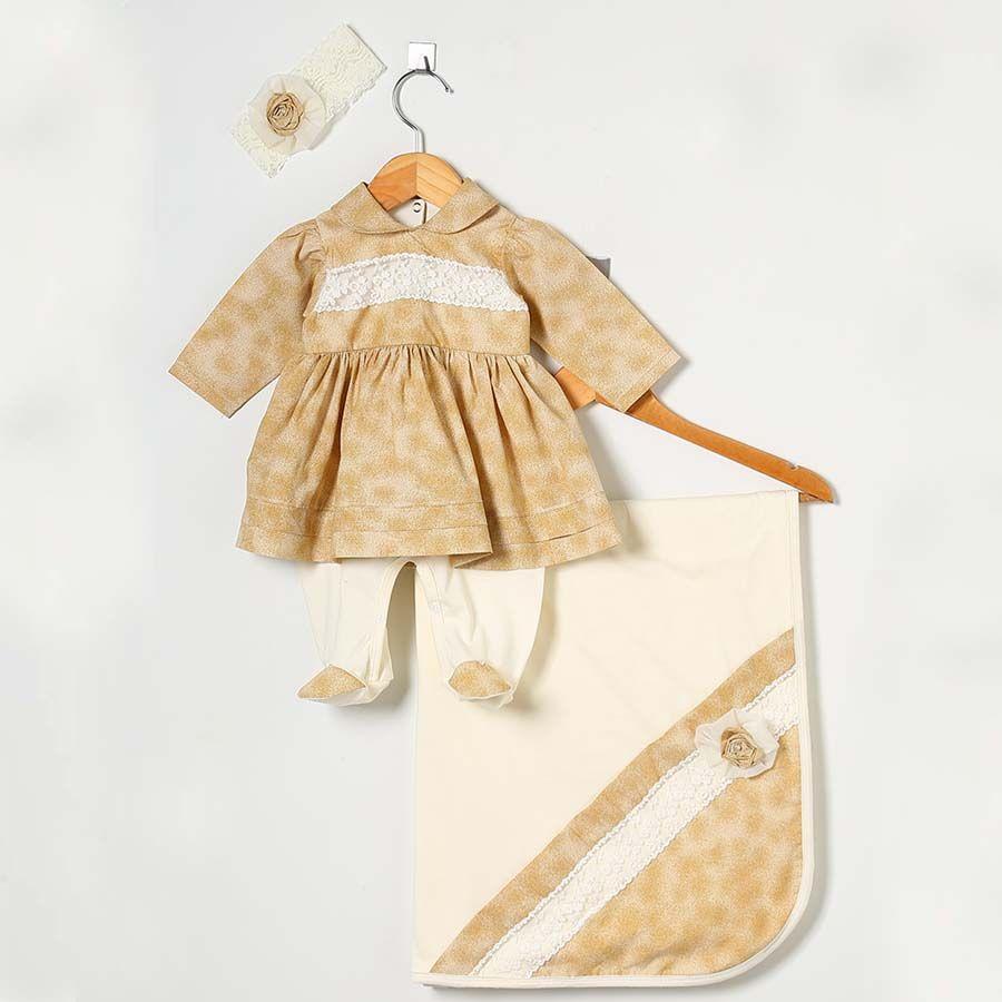 Saída Maternidade Anjos Golden Palha 03 Peças  - Toca do Bebê