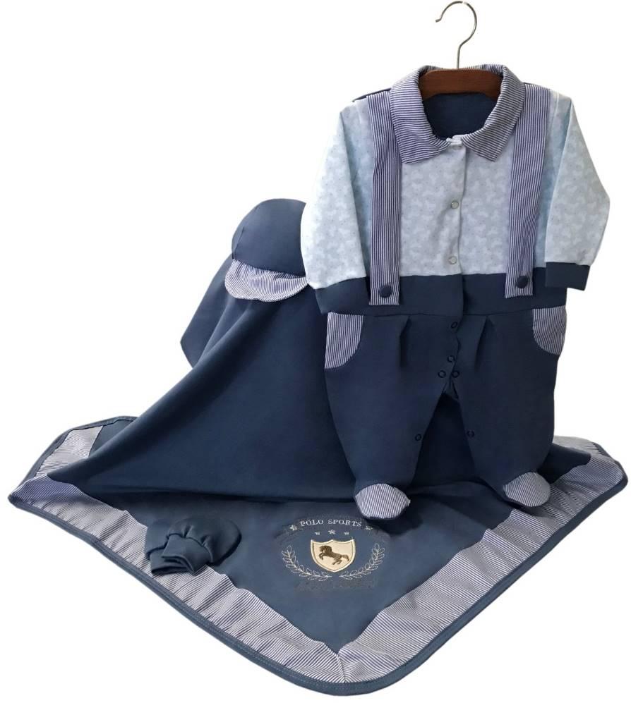 Saída Maternidade Azul Cavalinho 04 Peças