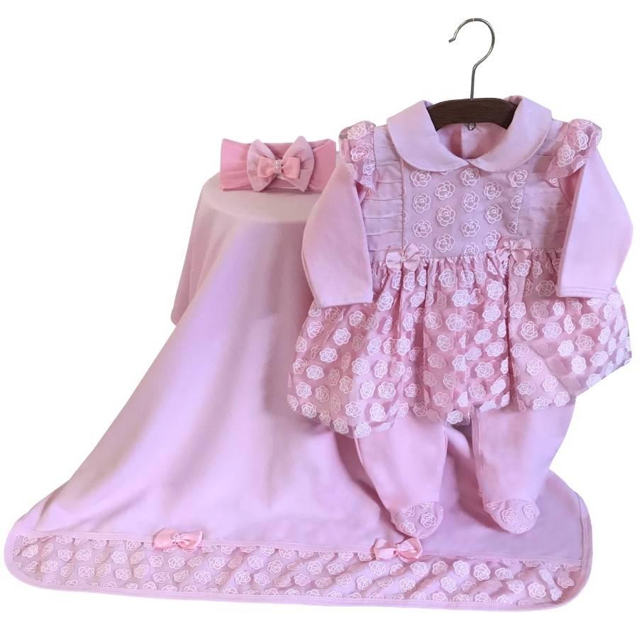 Saída Maternidade Renda Floral Rosa 03 Peças  - Toca do Bebê