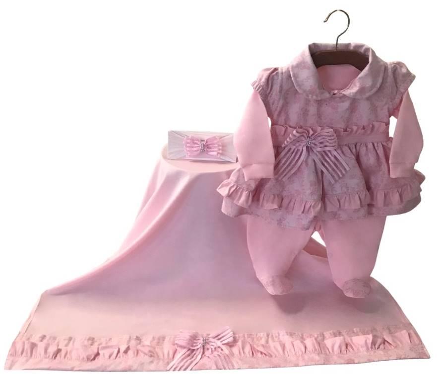 Saída Maternidade Boneca Rosa 03 Peças