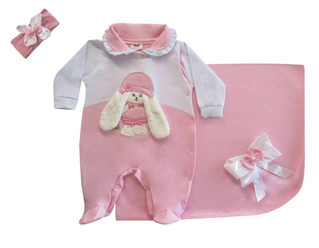 Saída Maternidade Cachorrinha Rosa 03 Peças