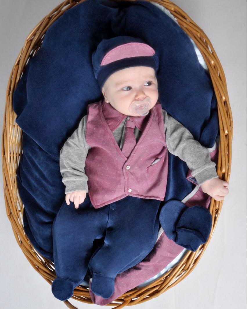 Saída Maternidade Cinza Mescla e Marinho 04 Peças