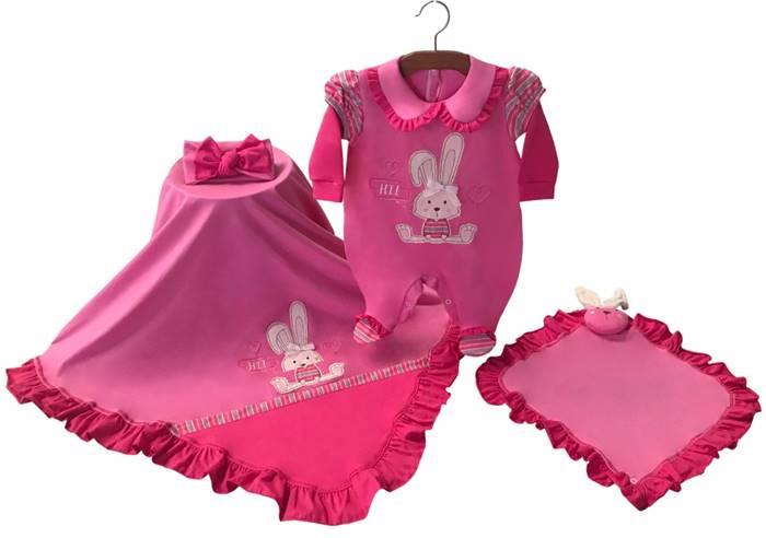 Saída Maternidade Coelhinha Rosa Pink 03 Peças