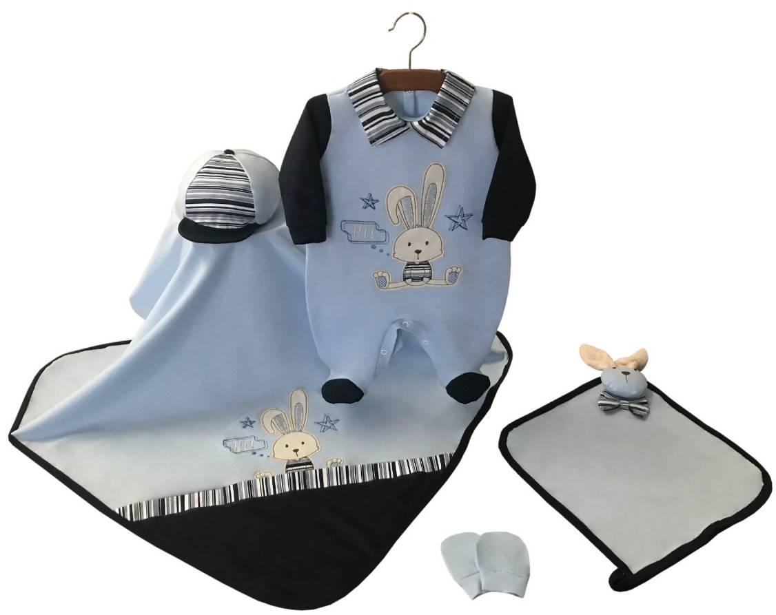 Saída Maternidade Coelhinho Azul Bebê com Marinho 05 Peças
