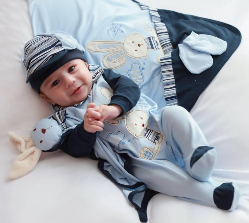 Saída Maternidade Coelhinho Azul Bebê com Marinho 05 Peças  - Toca do Bebê