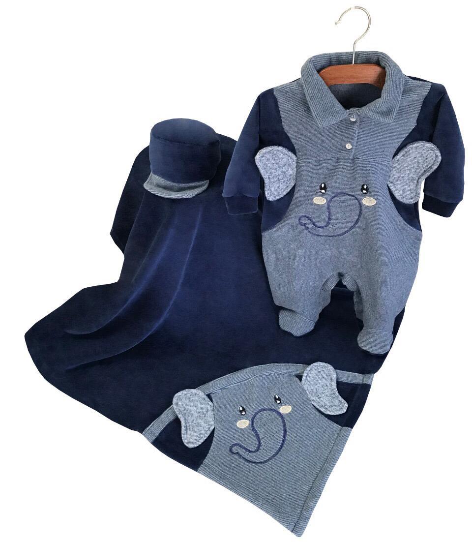 Saída Maternidade Elefantinho Azul 03 Peças