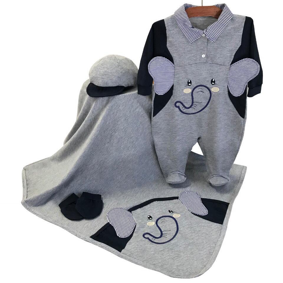 Saída Maternidade Elefantinho Cinza 03 Peças