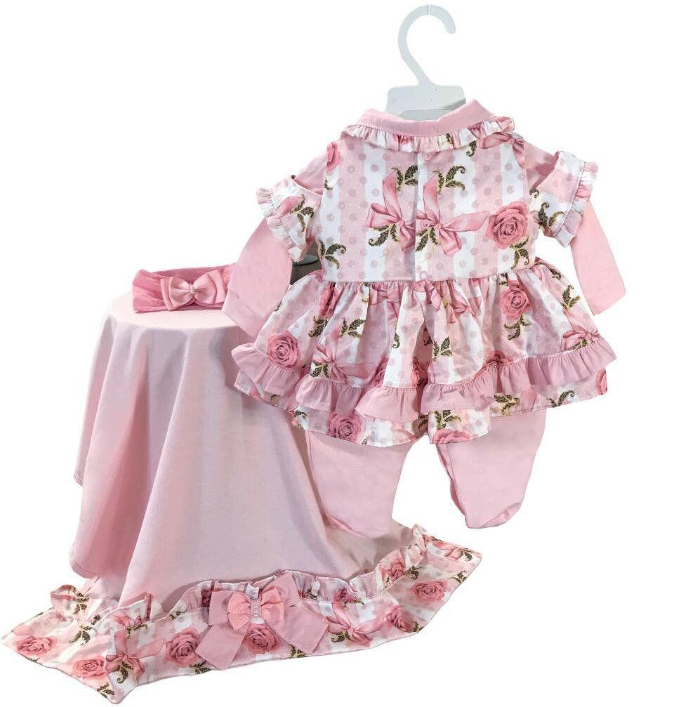 Saída Maternidade Floral 03 Peças  - Toca do Bebê