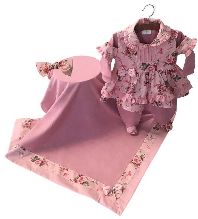 Saída Maternidade Floral Rosa Seco 03 Peças