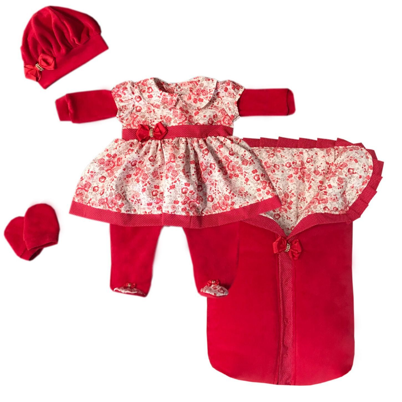 Saída Maternidade Floral Vermelho 04 Peças