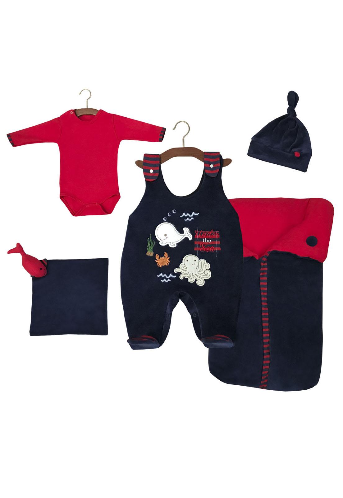 Saída Maternidade Fundo do Mar Marinho 05 Peças  - Toca do Bebê