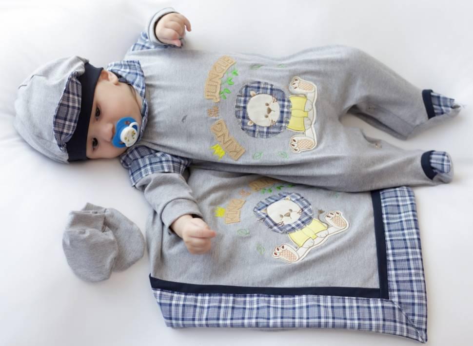 Saída Maternidade Leão Cinza 04 Peças