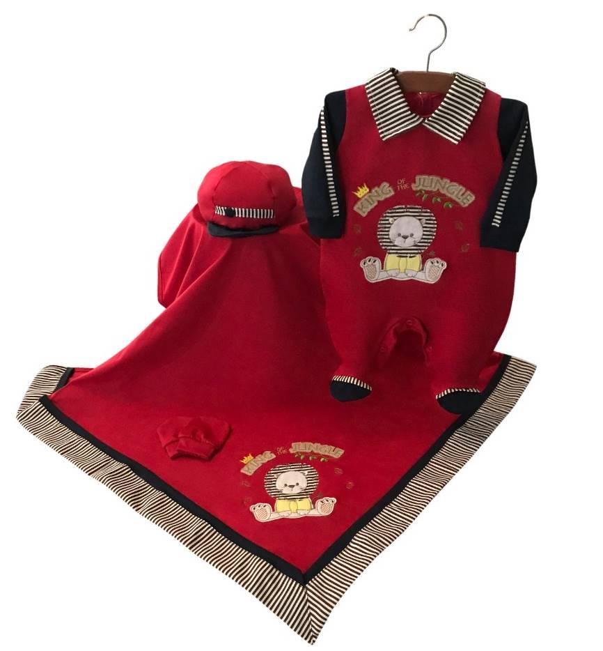 Saída Maternidade Leão Vermelho 04 Peças