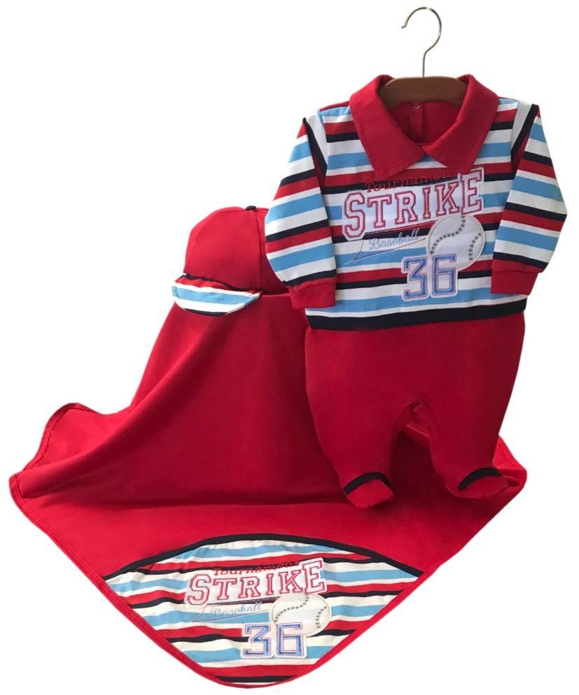 Saída Maternidade Listrado Vermelho 03 Peças
