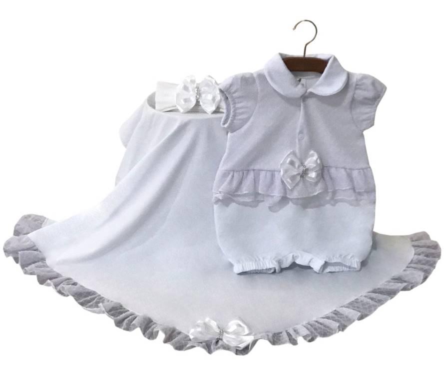 Saída Maternidade Macacão Curto Branca 03 Peças
