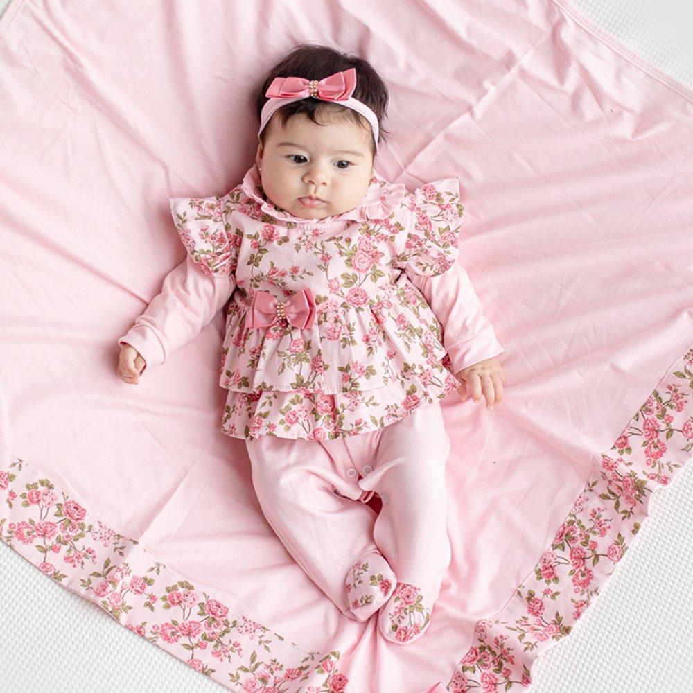 Saída Maternidade Menina Carmela Rosa 4 Peças