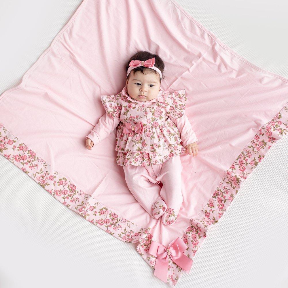 Saída Maternidade Menina Carmela Rosa 4 Peças  - Toca do Bebê