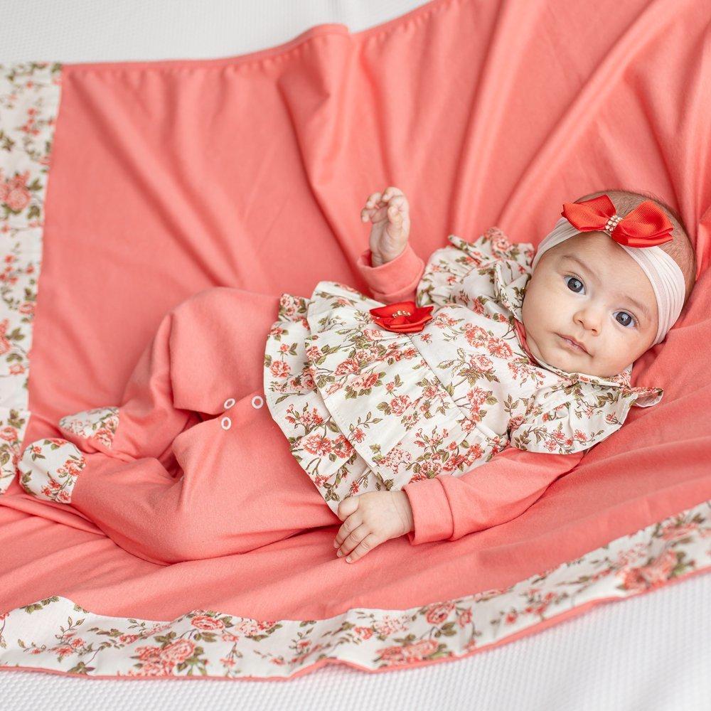 Saída Maternidade Menina Carmela Salmão 4 Peças