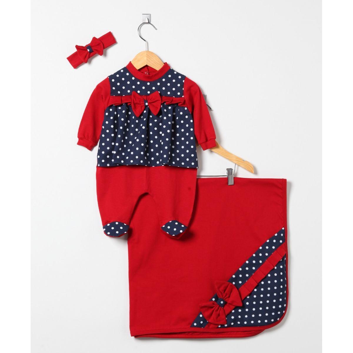 Saída Maternidade Menina Vermelha de Poá Larissa 03 Peças  - Toca do Bebê