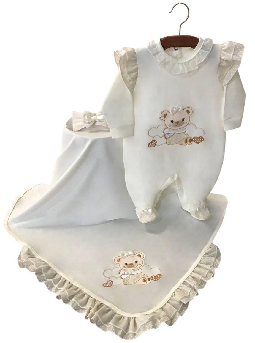 Saída Maternidade Off White Ursinha 03 Peças